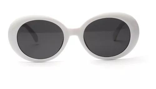 Oculos de sol oval retro kurt cobain armação branca uv400