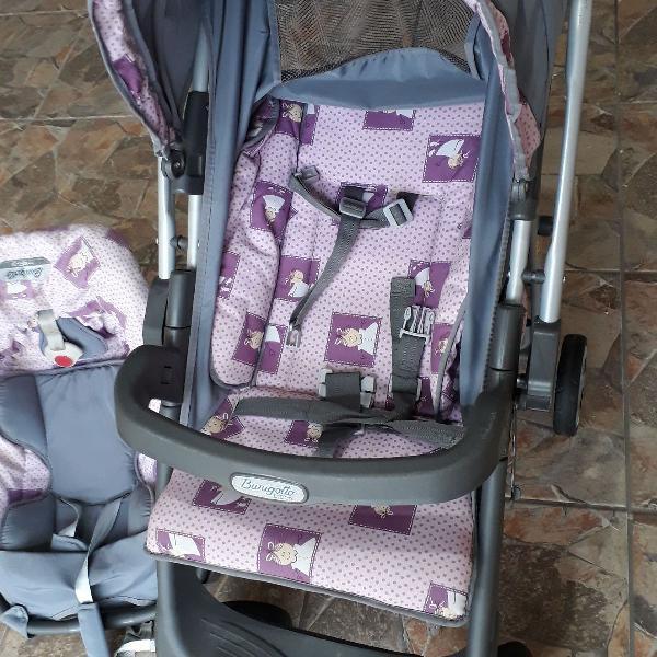 Carrinho com bebê conforto burigotto usado em excelente