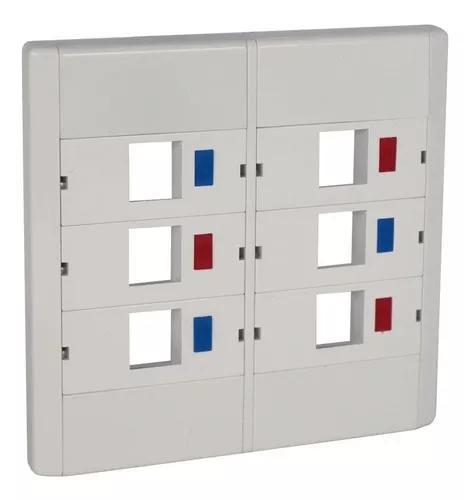 10 peças espelho plástico modular 4x4 com 6 saídas rj45