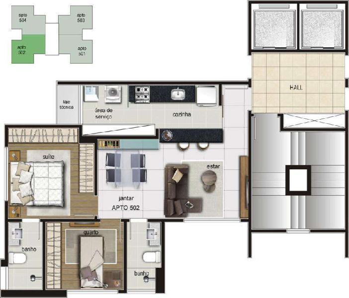 Apartamento, santa efigênia, 2 quartos, 2 vagas, 1 suíte