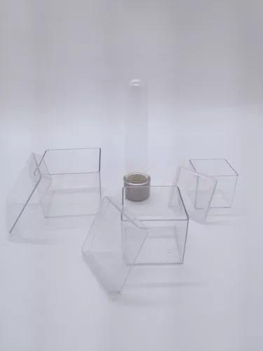 Kit 120 peças: caixas: 4x4, 5x5, 6x6 + 100 tubete cinza