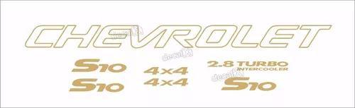Kit adesivo chevrolet s10 4x4 2000 dourado 7 peças s10kit39
