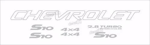 Kit adesivo chevrolet s10 4x4 2000 prata 7 peças s10kit38