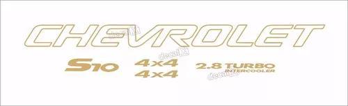 Kit adesivo chevrolet s10 4x4 2005 dourado 5 peças s10kit35