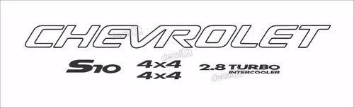 Kit adesivo chevrolet s10 4x4 2005 preto 5 peças s10kit34