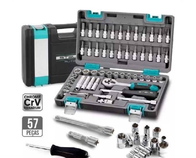 Kit de ferramentas soquete 57 peças 14 catraca chave crv al