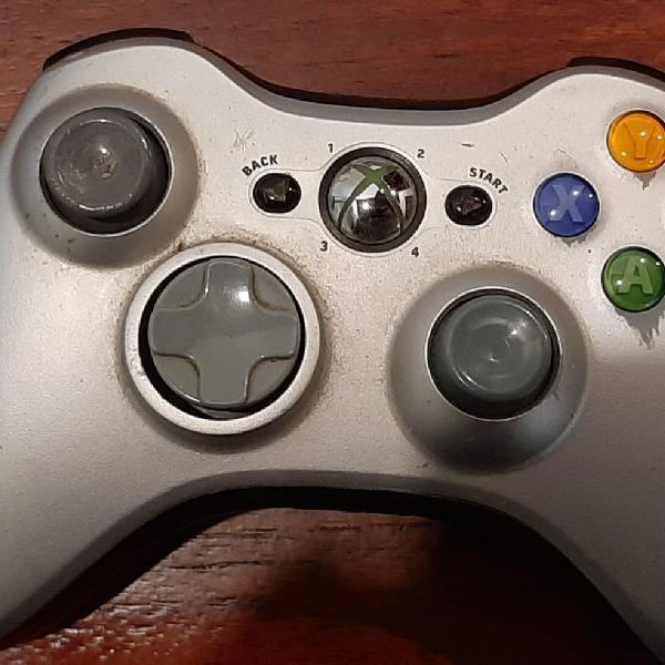 Controle wireless xbox 360 original funcionando prata