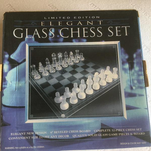 Jogo de xadrez de vidro novo 20x20cm edição limitada
