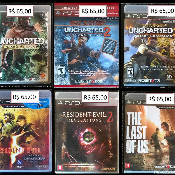 Jogos ps3: the last of us, uncharted: drakes fortune,