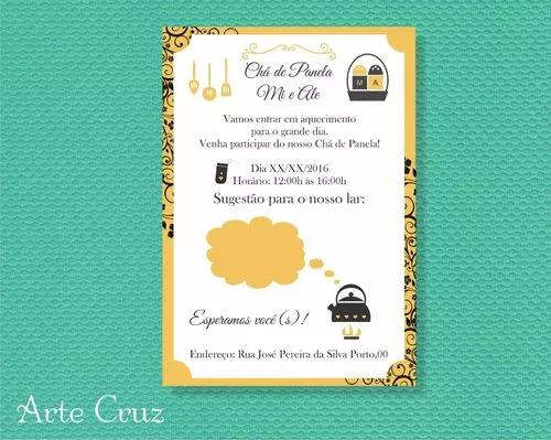 Convite do evento - chá de panela ou cozinha