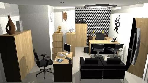 Projeto cozinha - escritório - quarto - sala - 3d com 2d