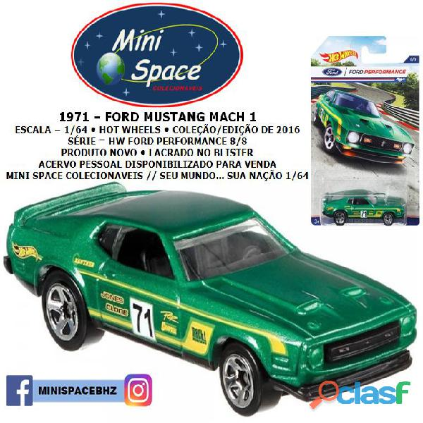 Hot wheels 1971 ford mustang mach 1 cor verde 1/64