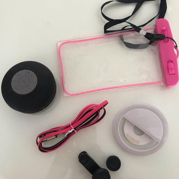Kit acessórios celular + mini som portátil