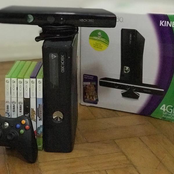 Xbox-360, travado, 6 jogos originais, incluindo kinect.