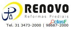 Obras e reformas corporativas manutenção reforma predial pintura limpeza fachada prédios renovo bh