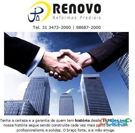 Obras e Reformas Corporativas Manutenção Reforma Predial Pintura Limpeza Fachada Prédios Renovo BH 2