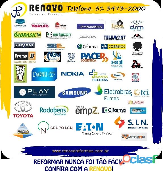 Obras e Reformas Corporativas Manutenção Reforma Predial Pintura Limpeza Fachada Prédios Renovo BH 1
