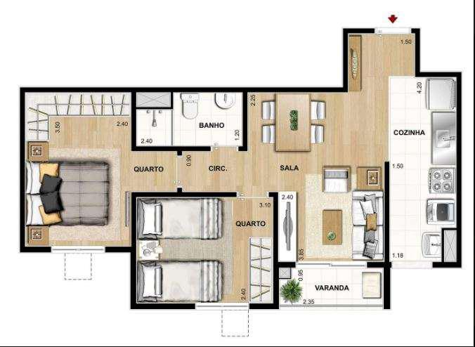 2 quartos no Rocha - Rio de Janeiro - RJ - Exato Residencial