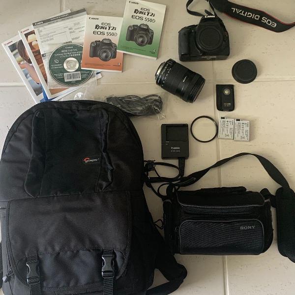 Canon rebel t2i eos 540 lente 18-135mm + acessórios +