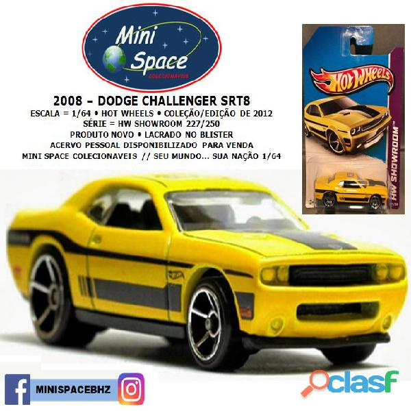 Hot wheels 2008 dodge challenger srt8 cor amarelo 1/64