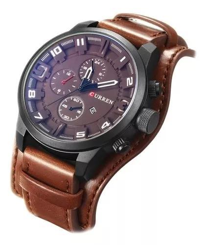 Relógio curren masculino pulseira couro social original