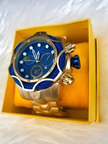 Relógio de pulso masculino luxo dourado + caixa
