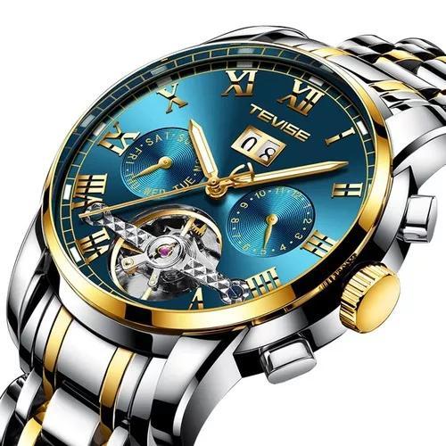 Relógio de pulso mecânico automático para homens