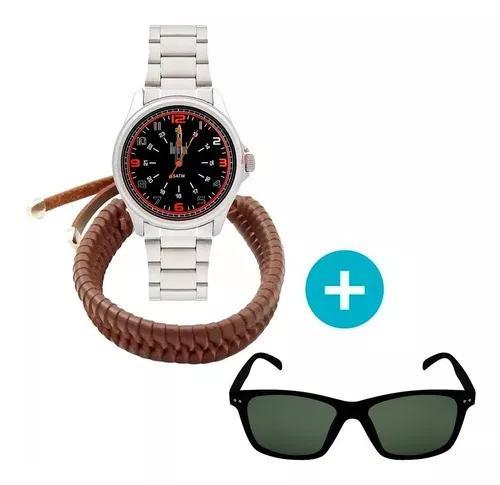 Relógio dumont masculino analógico, caixa 4,4cm, prata,