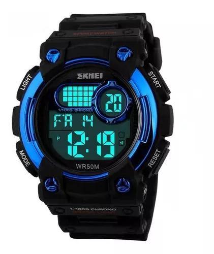Relógio infantil masculino skmei digital 1054 preto e azul
