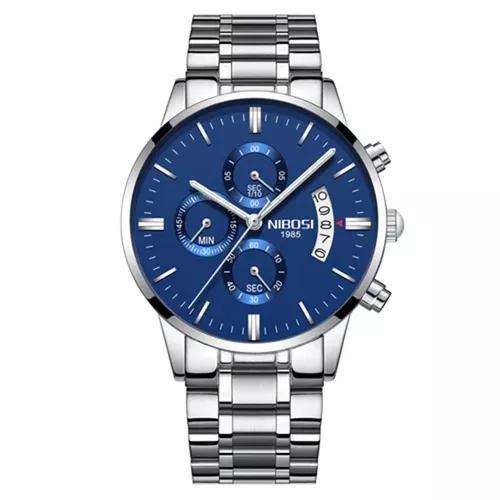 Relógio masculino nibosi prata e azul funcional aço ni2309