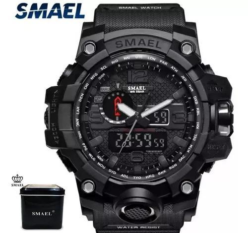 Relógio smael 1545 preto original com caixa toop promoção
