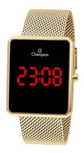 Relogio champion dourado digital led vermelho + nf