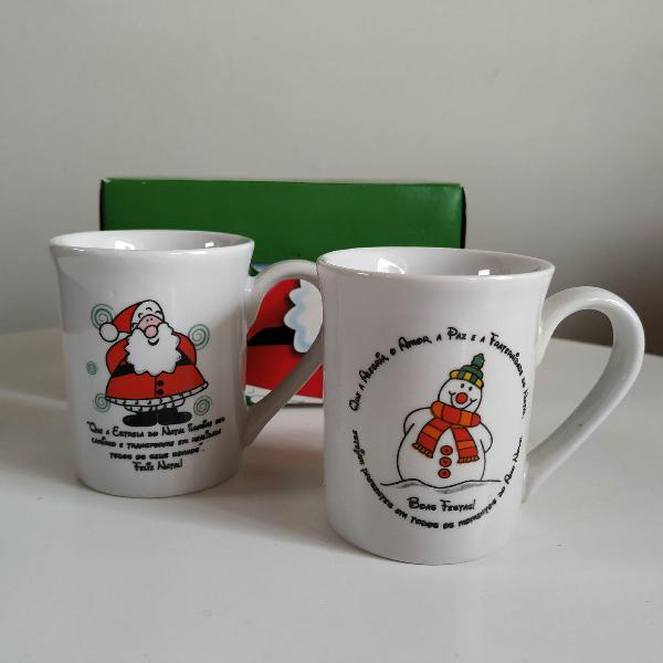 Jogo 2 xícaras café porcelana de natal.