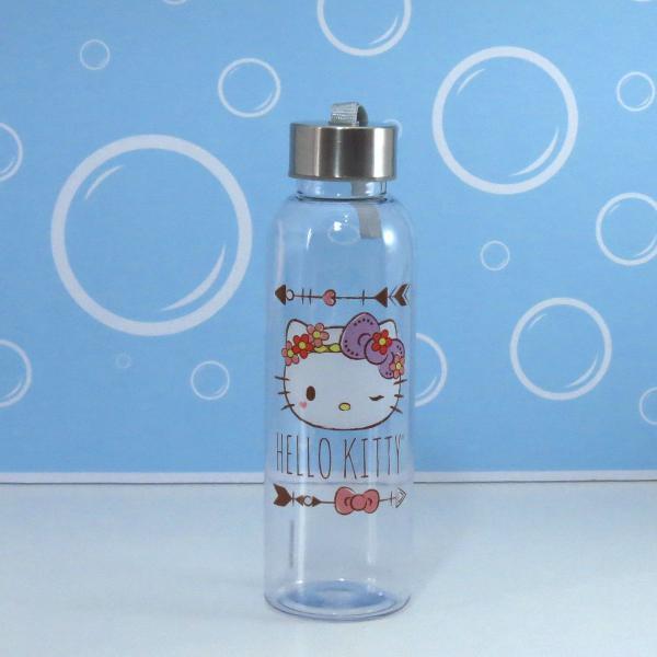 garrafa acrílica transparente hello kitty