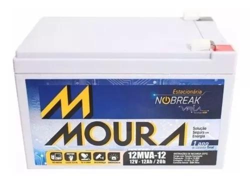 Bateria moura 12v 12ah vrla p/ nobreak, alarme bike eletrica