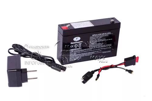 Kit bateria 6v 8,5ah + carregador + chicote - moto elétrica