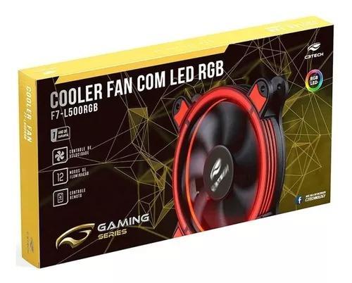 Kit com 2 cooler fan com led rgb c3tech f7-l500rgb