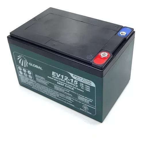 Kit com 3 baterias global original 12v 15ah ciclo profundo