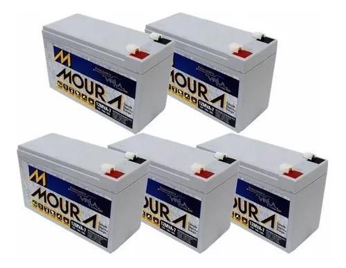 Kit com 5 bateria moura 12v 7ah vrla nobreak/alarme/cerca