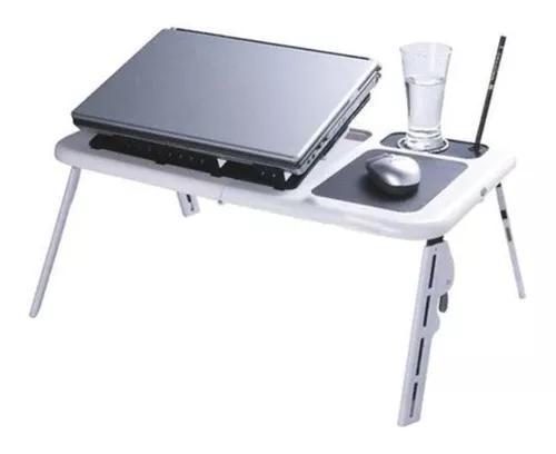 Mesa notebook cooler preta branca c/ mousepad porta copo