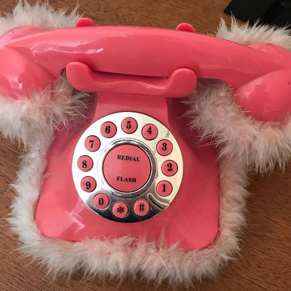 Telefone retrô rosa (usado)