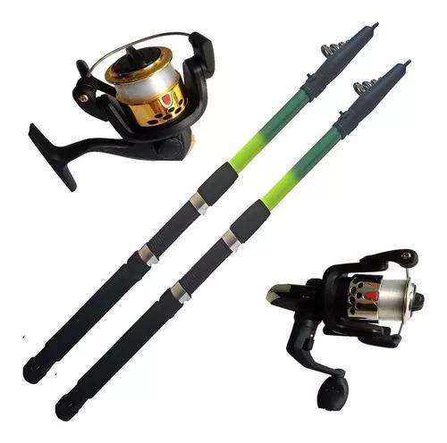 2 vara de pesca 2,40 mts 18 lbs molinete ultra light