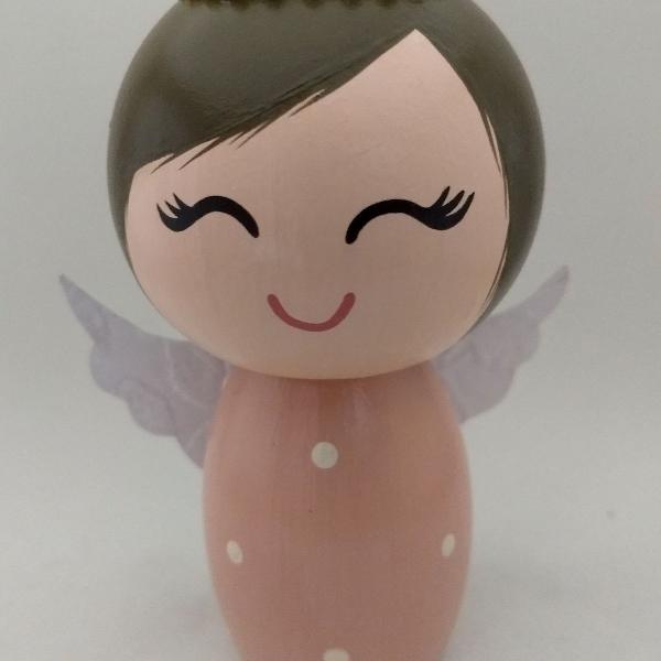 Anjinha rosa topo de bolo batizado