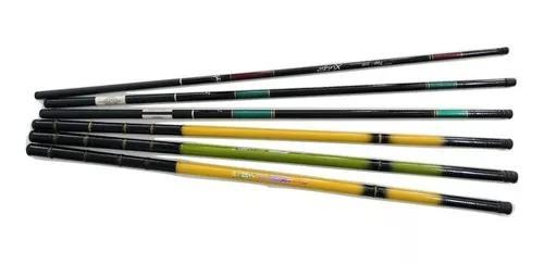 Kit pesca 6 varas telescópicas + capa c/ enrolador de linha