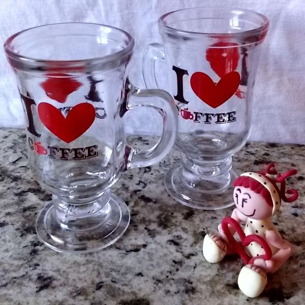 Kit quatro taças de vidro canecas porta copo coruja vintage
