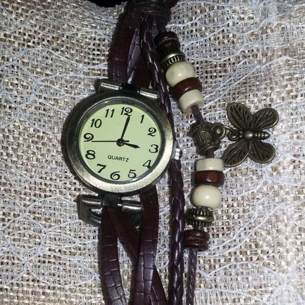 Relógio de pulso feminino retro vintage de couro bracelete