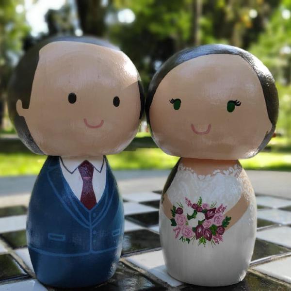 Topo de bolo casamento noivinhos