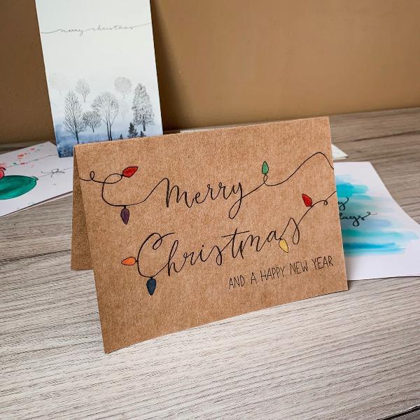 Artesanal cartão de natal merry christmas