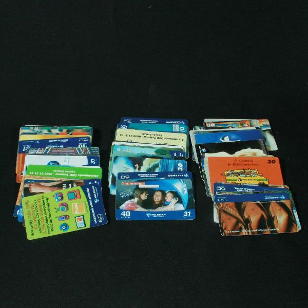 Coleção com 87 cartões telefônicos da empresa telemar