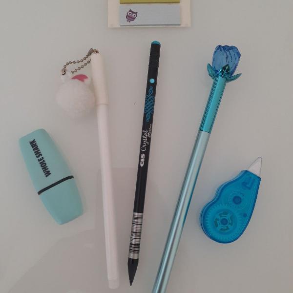 Kit canetas azul